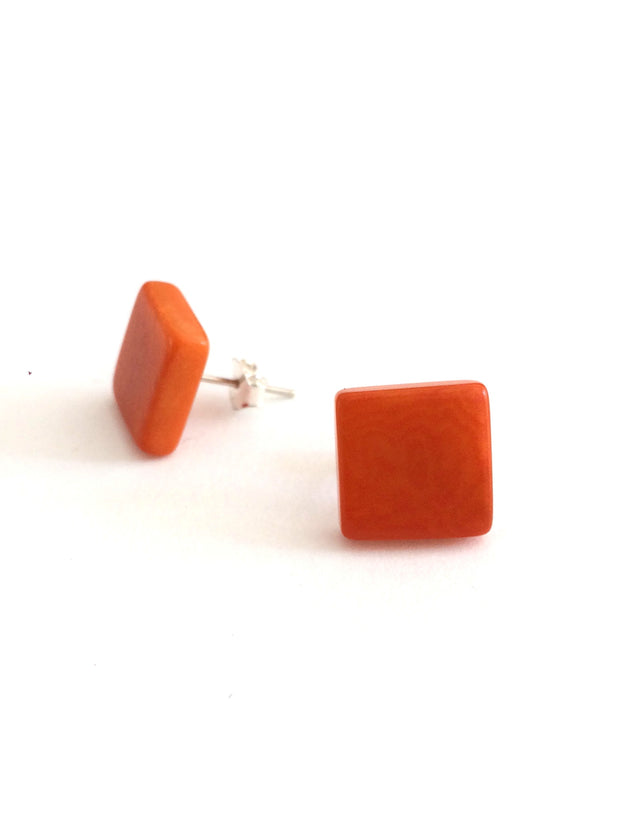 Cuadrito stud earrings - Orange