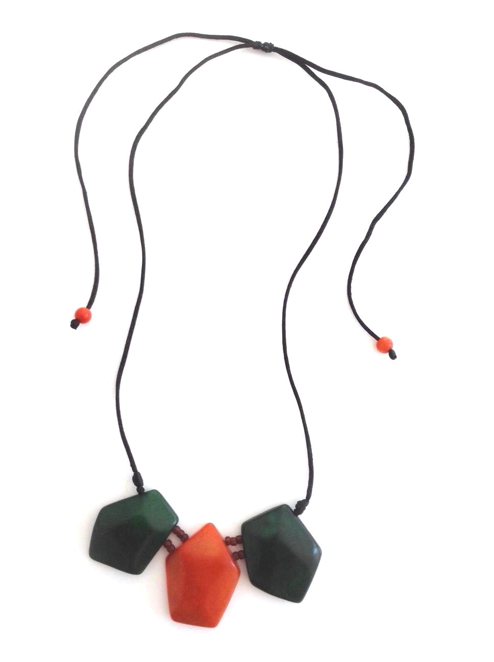 Diamantico necklace - Green Hunter & Orange Tones