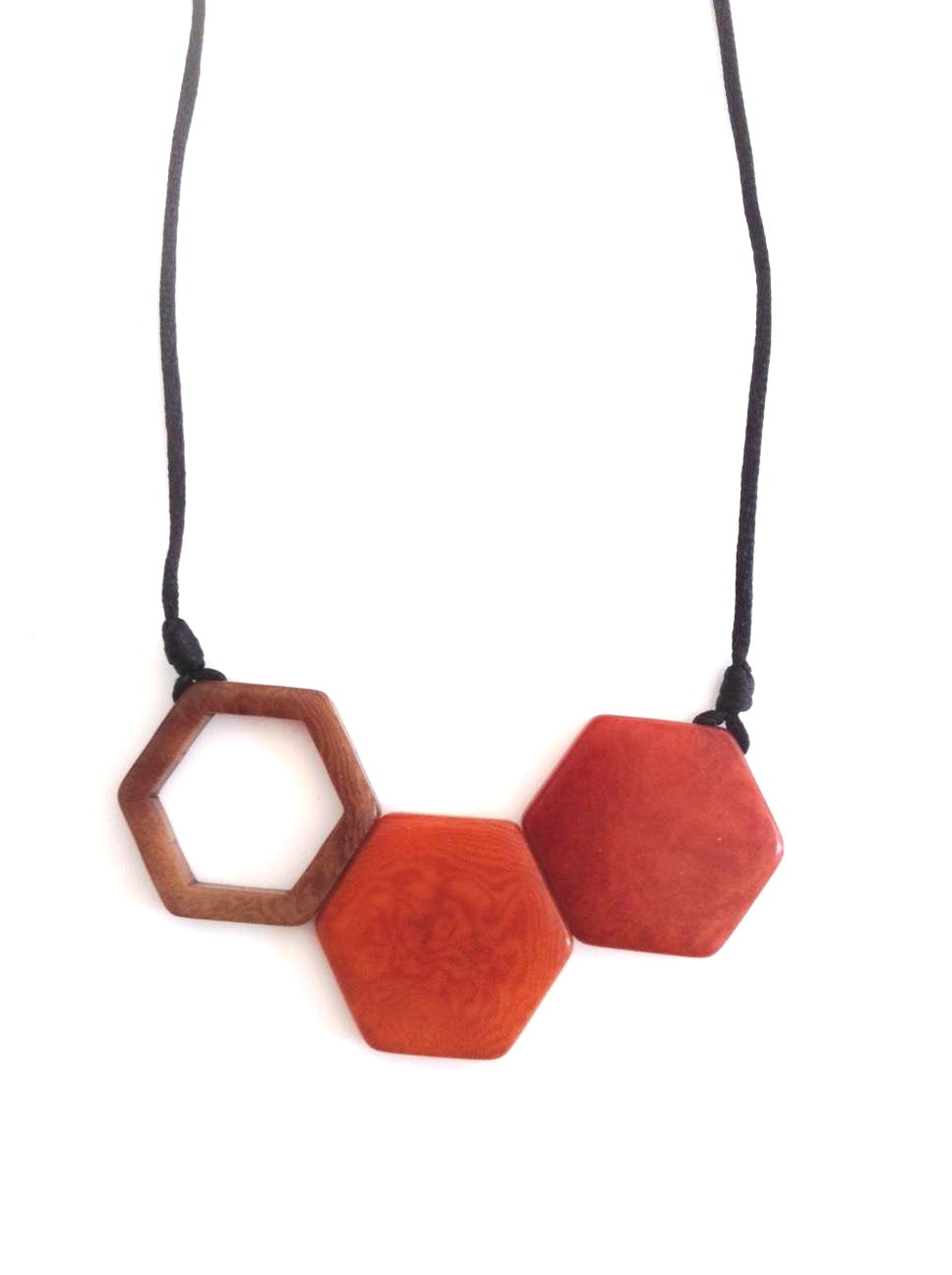 Rombos Necklace - Orange & Light Brown Tones