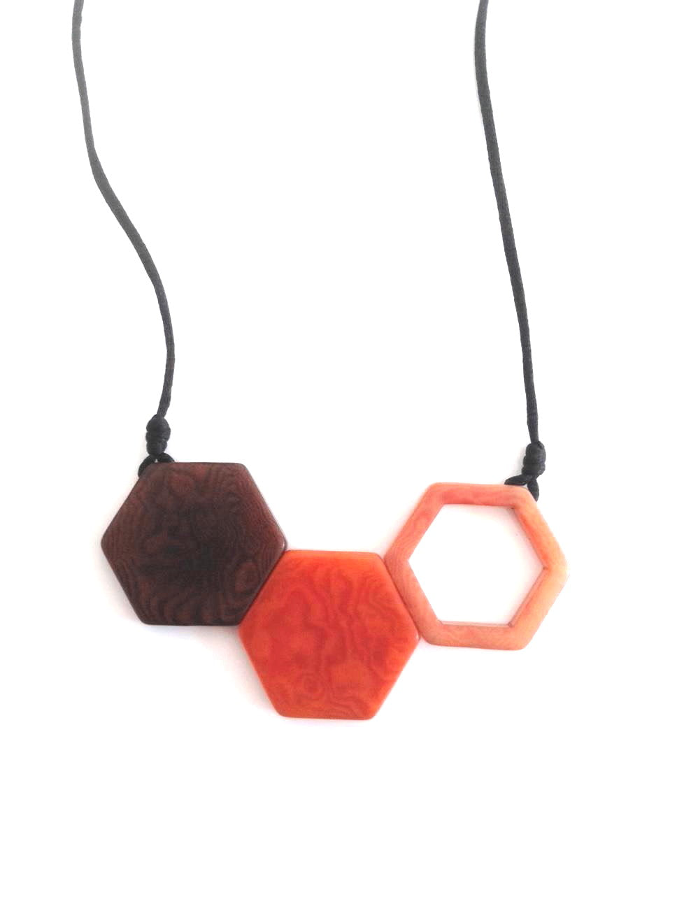 Rombos Necklace - Orange & Dark Brown Tones