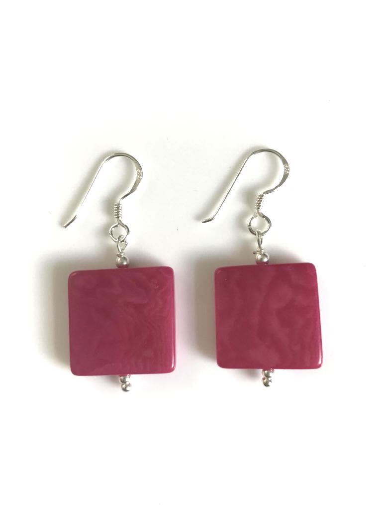 Square earrings (18mm) - Pink/Fuchsia