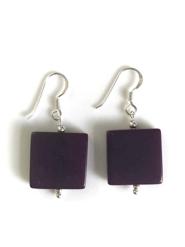 Square earrings (18mm) - Purple