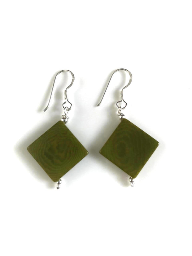 Diamante earrings (14mm) - Green Pistachio