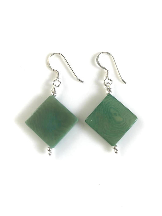 Diamante earrings (14mm) - Green Mint