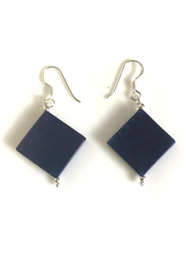 Diamante earrings (18mm) - Navy