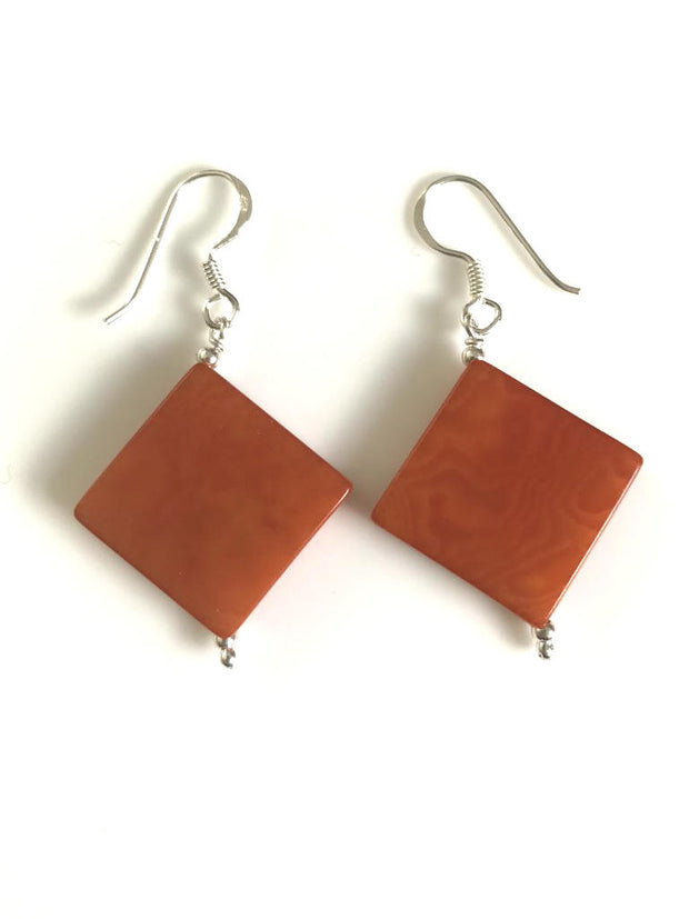 Diamante earrings (18mm) - Orange