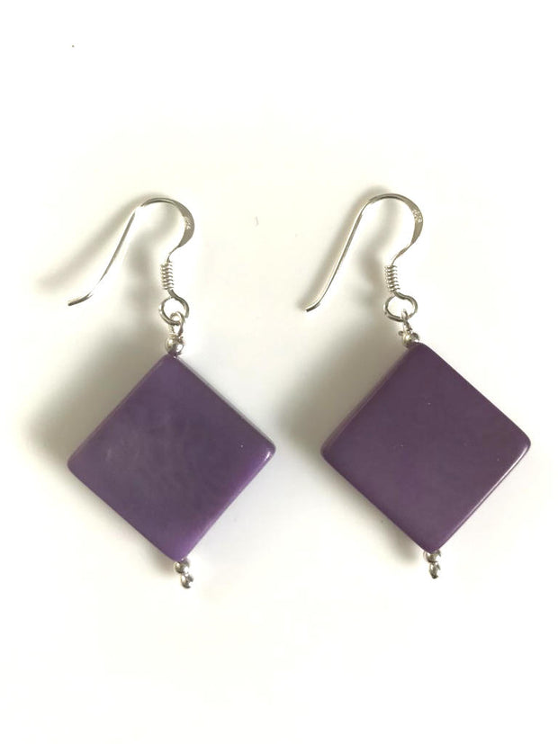 Diamante earrings (18mm) - Purple