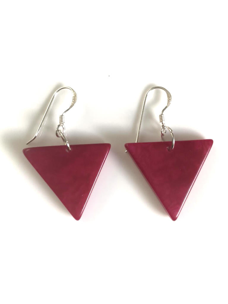 Triangulo earrings (22mm) - Pink/Fuchsia