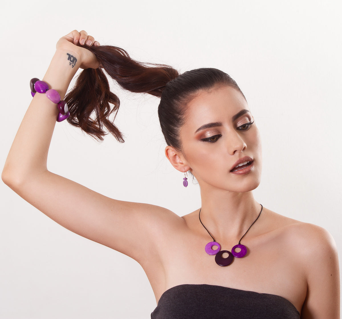 Treslunas necklace - purple tones