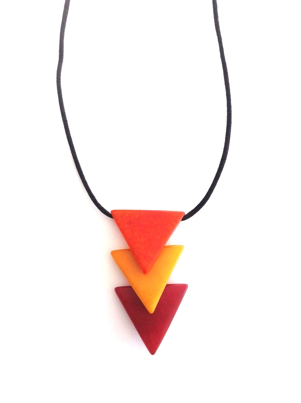 Triangulos Necklace - Orange/Mustard/Red Tones
