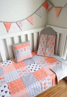 Peach & Grey Foxes Nursery Collection