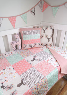 Pink & Mint Deer Patchwork Collection