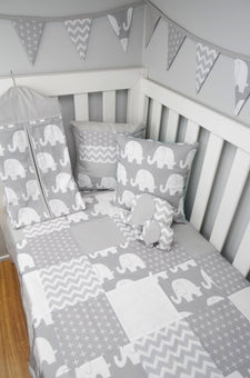 Grey & White Elephant Nursery Collection