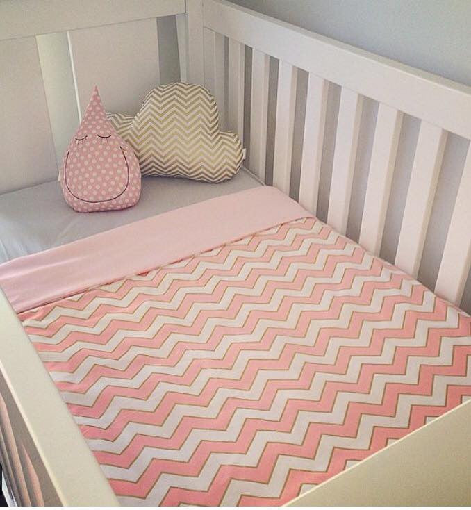 Cot Quilt / Doona Cover in Pink & Gold Chevron