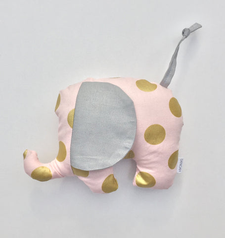 Plush Elephant Toy in Pink & Gold