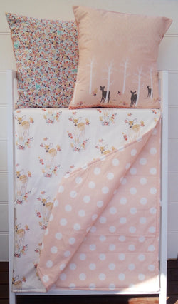 White Deer & Pink Polka Dot Reversible Cot Quilt
