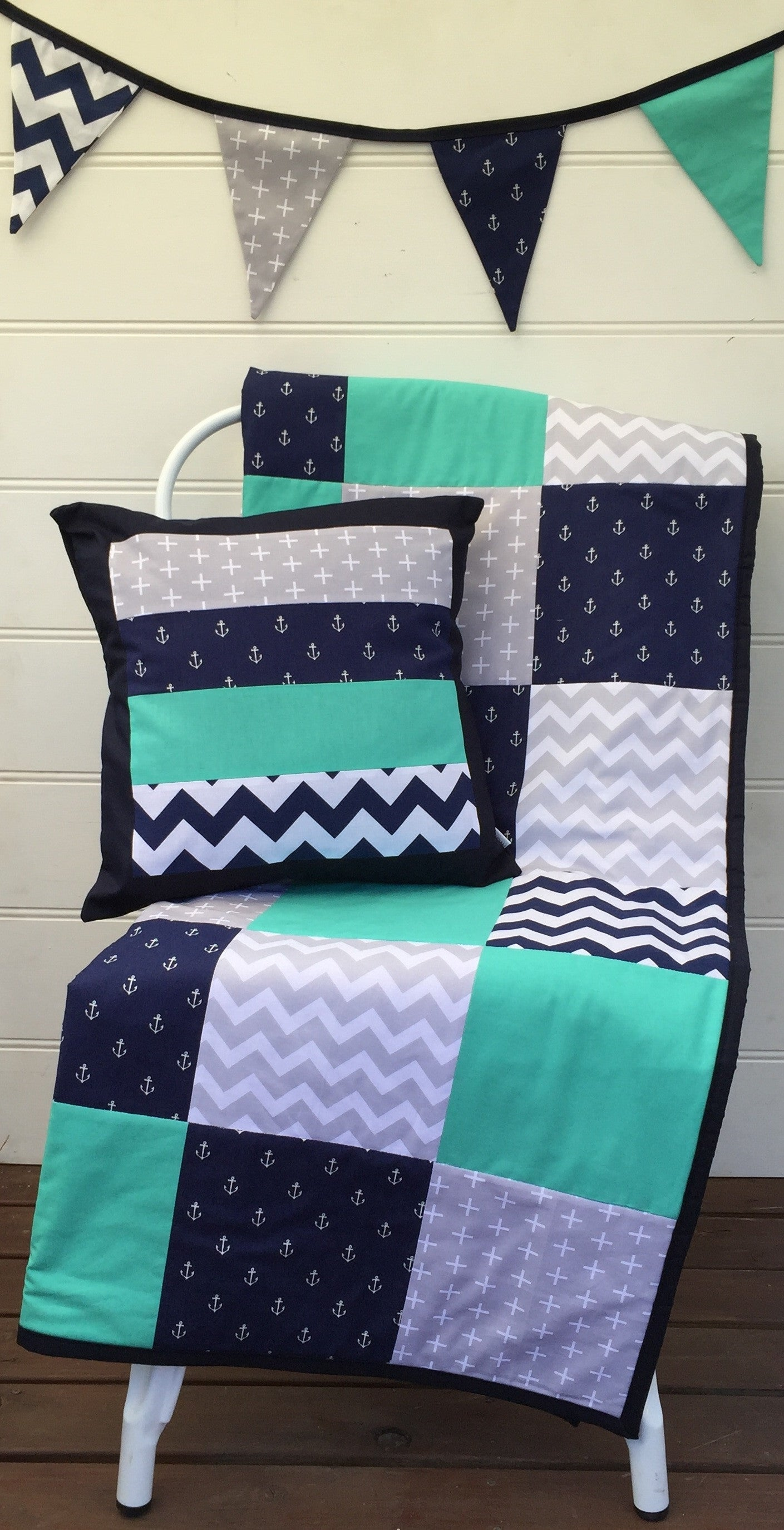 Navy Blue & Teal Anchors Patchwork Quilt