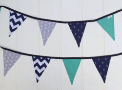 Navy Blue & Teal Anchor Bunting Flags