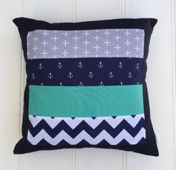 Navy Blue & Teal Anchors Cushion Cover