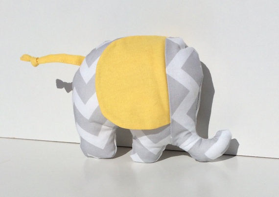 Plush Elephant Toy in Grey and Yellow