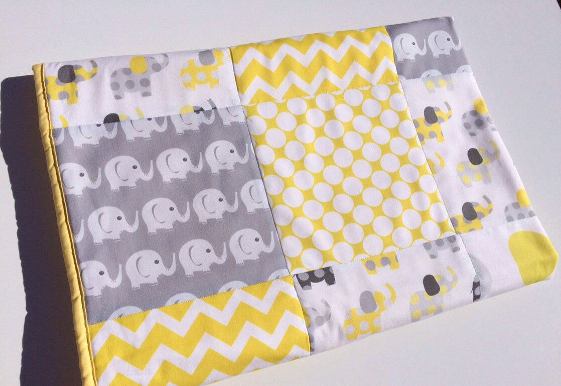 Yellow & Grey Elephant Patchwork Quilt