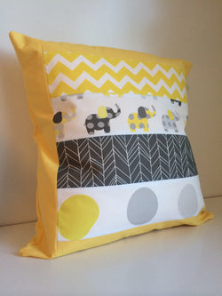 Yellow & Grey Elephant Patchwork Cushion Cover