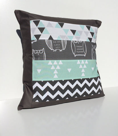 Aqua & Grey Owls Patchwork Cushion Cover