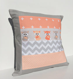 Peach & Grey Foxes Cushion Cover