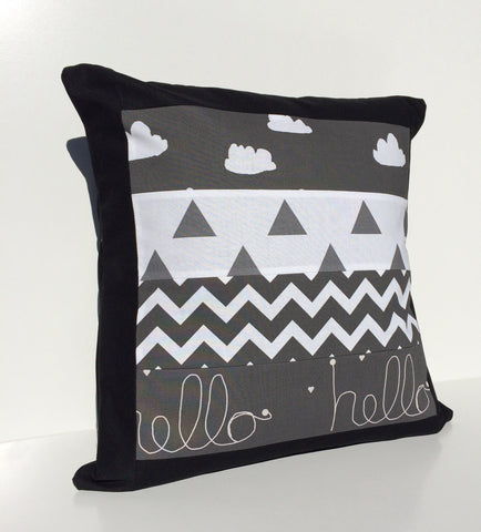 Black & White Hello Clouds Patchwork Cushion Cover