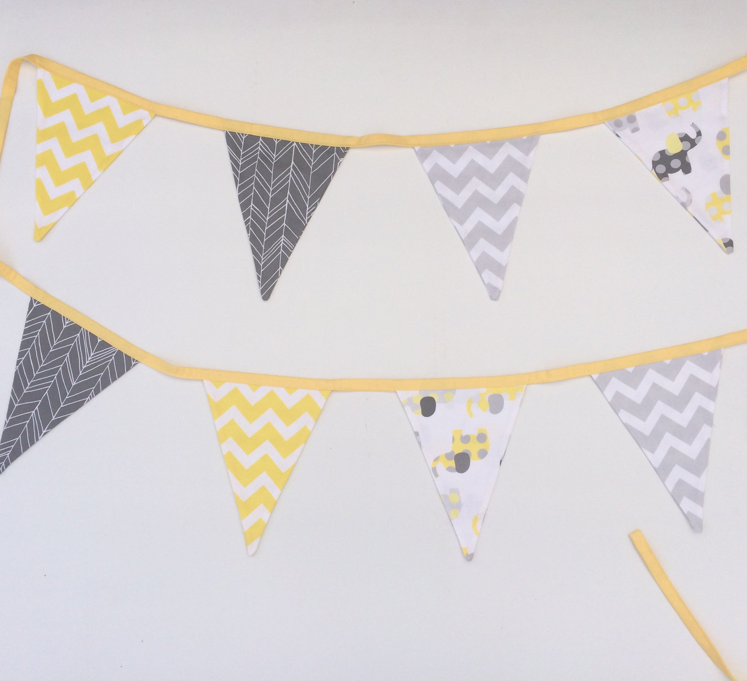 Yellow & Grey Elephant Bunting Flags