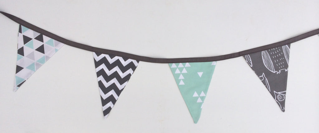 Aqua & Grey Owls Bunting Flags