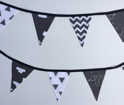 Black & White Hello Clouds Bunting Flags