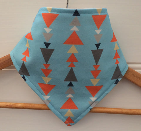 Organic Bandana Bib in Blue & Orange Triangles