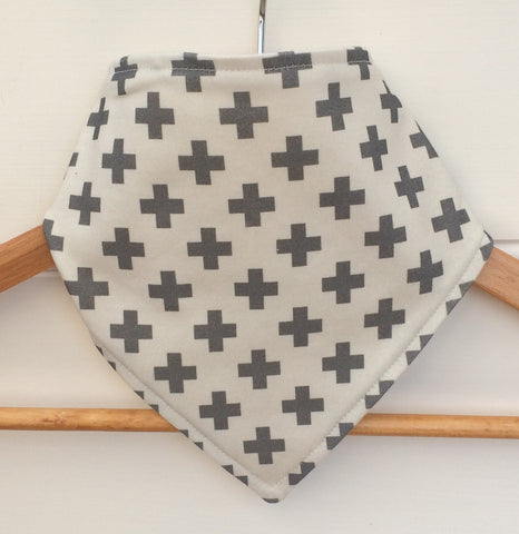 Organic Bandana Bib in Grey Crosses