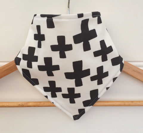 Organic Bandana Bib in Black Crosses