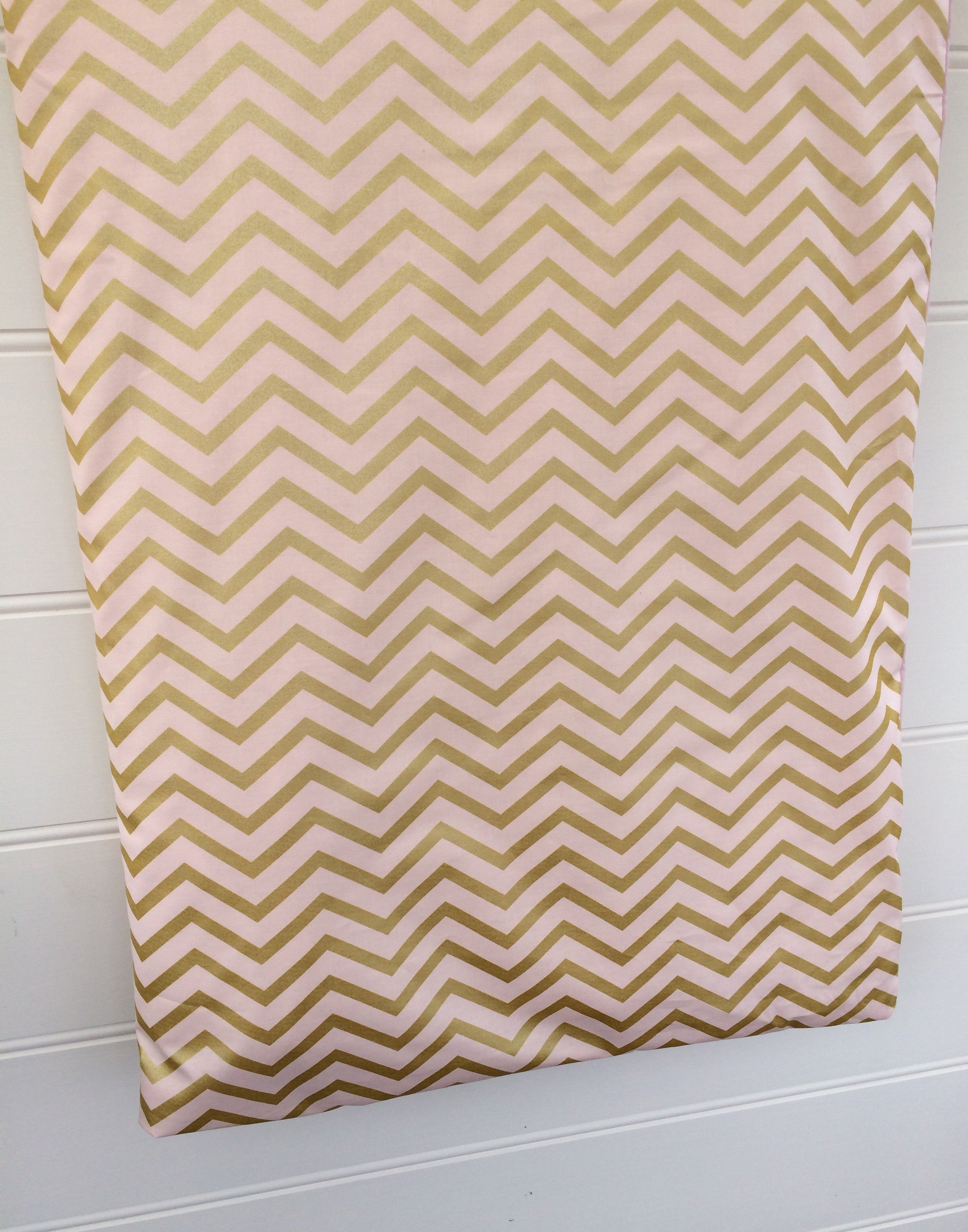 Cot Quilt / Doona Cover in Blush Pink & Gold Chevron