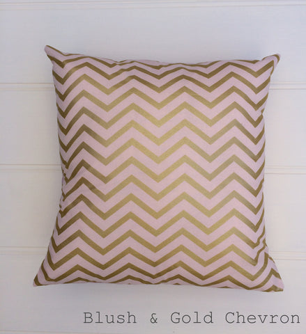 Blush Pink & Gold Chevron Cushion Cover