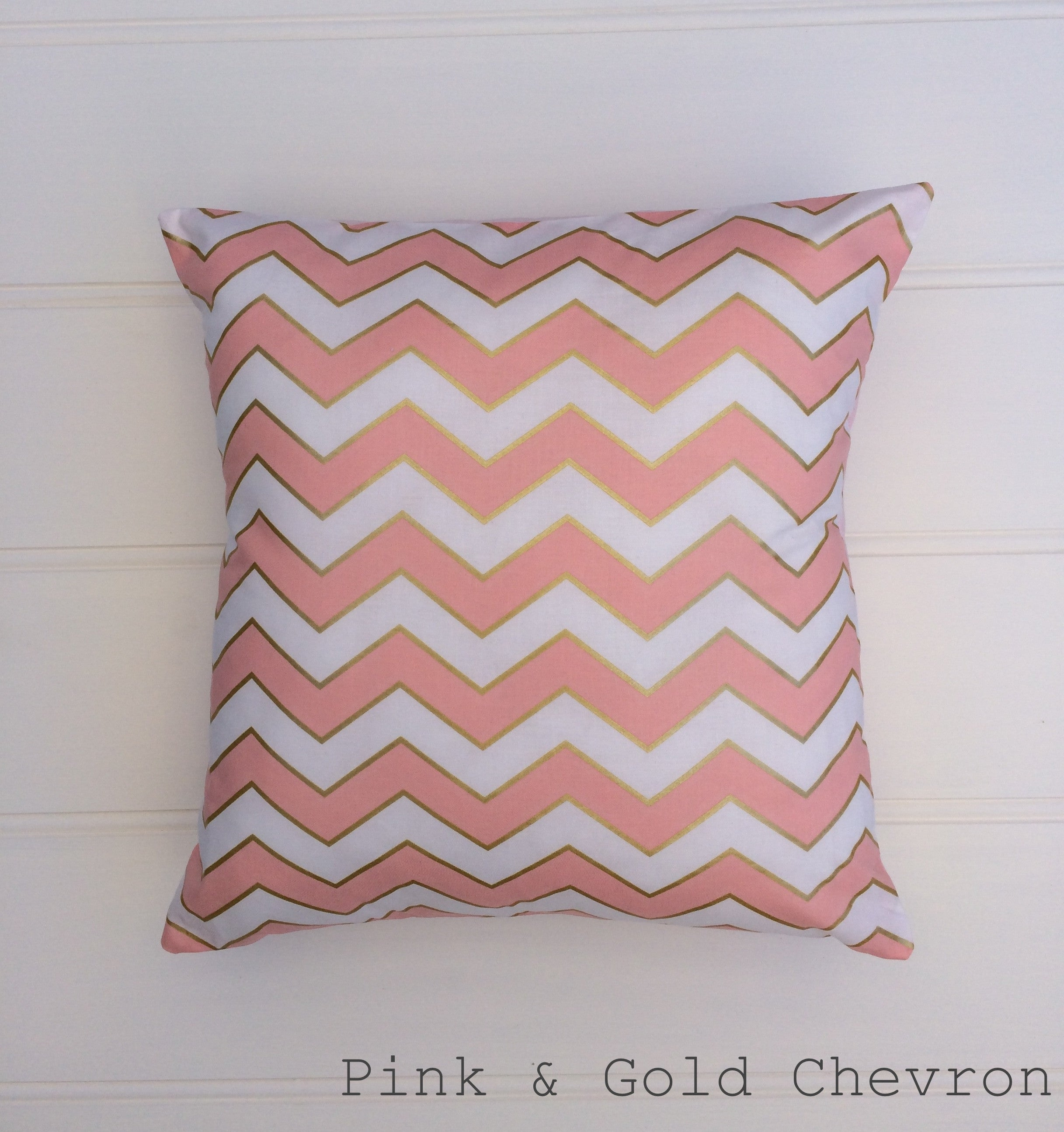 Pink & Gold Chevron Cushion Cover