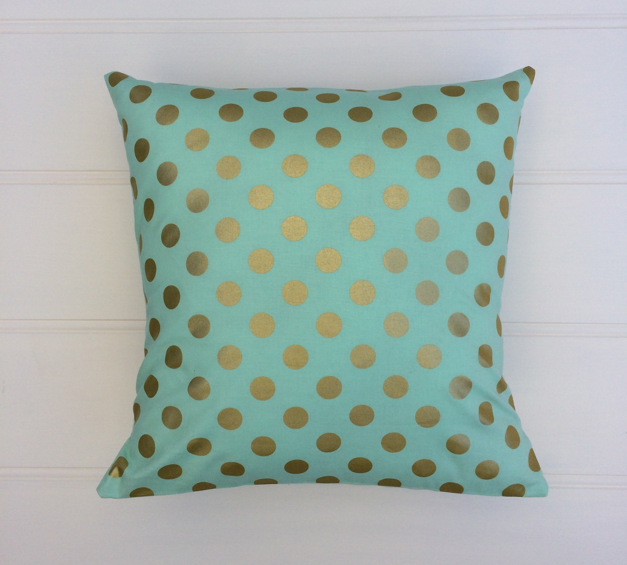 Aqua & Gold Dot Cushion Cover