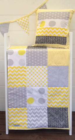 Yellow & Grey Patchwork Quilt