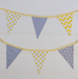 Yellow & Grey Bunting Flags