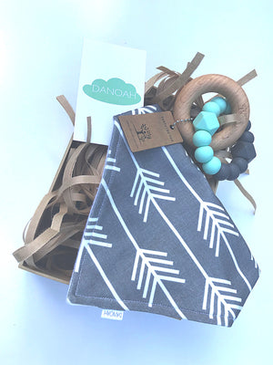 Grey/Mint Bib & Teether Gift Box