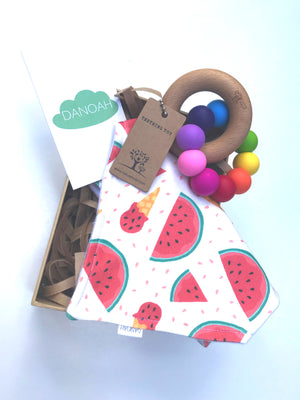 Rainbow Watermelon Bib & Teether Gift Box