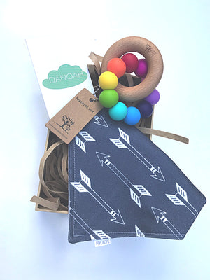 Navy and Rainbow Bib & Teether Gift Box