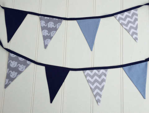Two Blue & Grey Elephant Bunting Flags