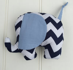 Plush Elephant Toy in Navy Blue Chevron
