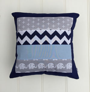 Two Blue & Grey Elephant Patchwork Cushion Cover