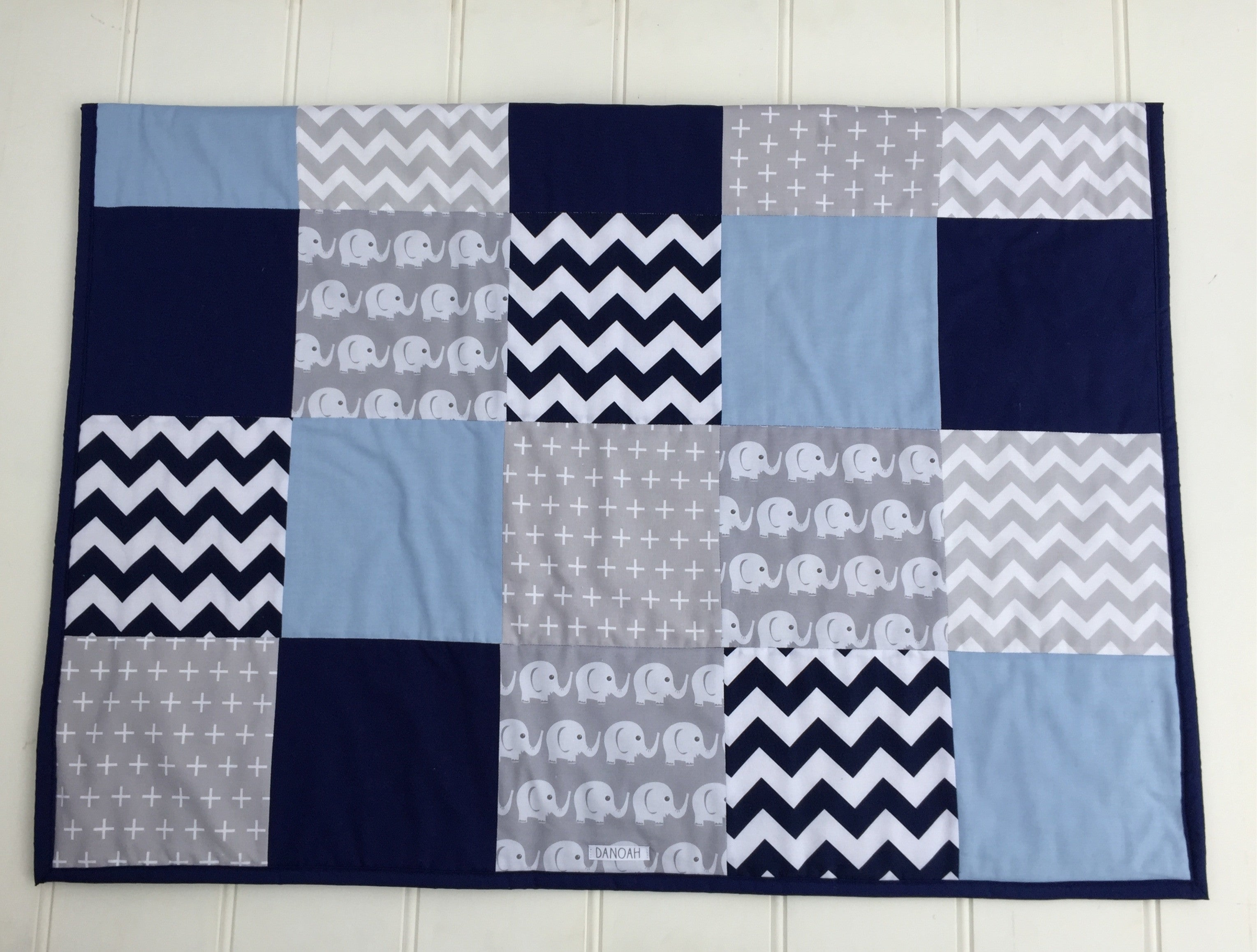 Two Blue & Grey Elephant Patchwork Quilt