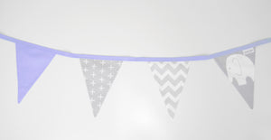Purple & Grey Elephant Bunting Flags
