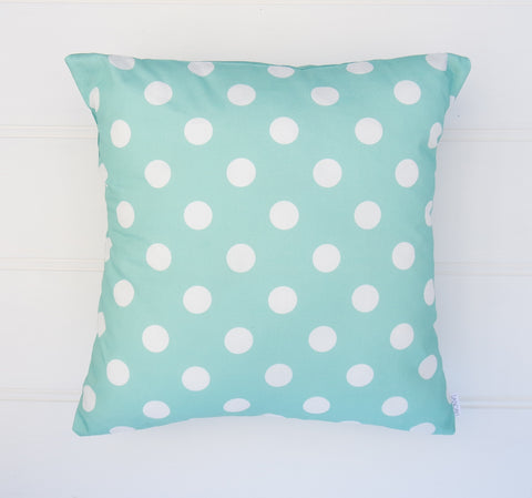 Aqua Polka Dot Cushion Cover